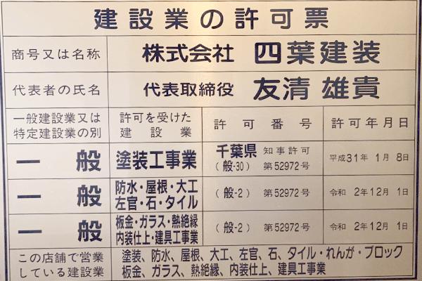 千葉県知事建設業許可票