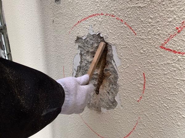 千葉県千葉市稲毛区 Rビル 外壁塗装 外壁補修作業 爆裂とは (1)