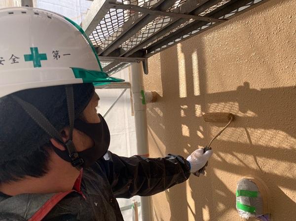 千葉県千葉市中央区 Gマンション 外壁塗装 中塗り・上塗り 塗装回数を省く手抜き業者にご注意ください! (2)